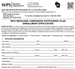 Medicare supplement insurance plan application